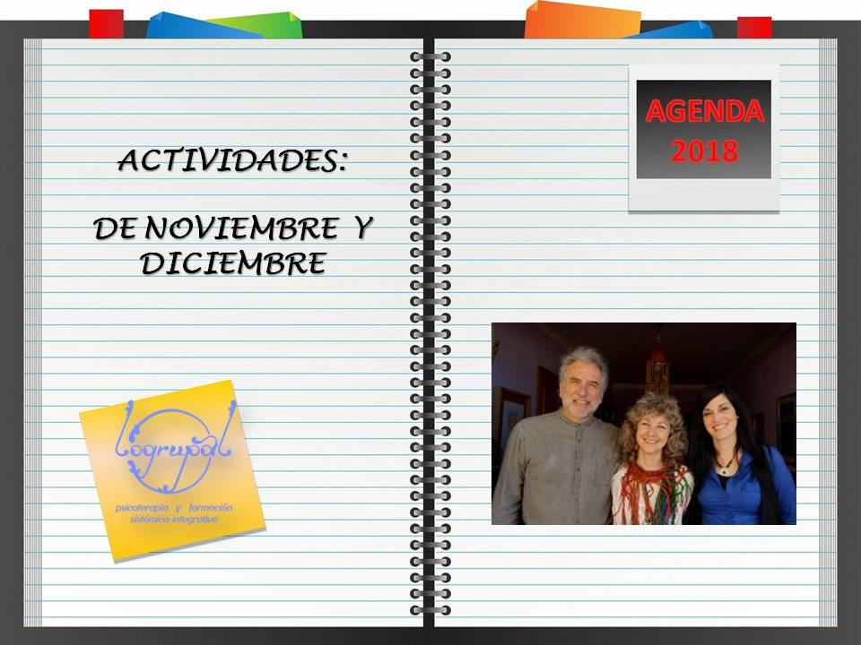 Agenda de actividades de noviembre y diciembre